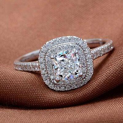 Size 6-9 Handmade Diamonique Ladys 925 Silver White Sapphire Wedding Ring Gift