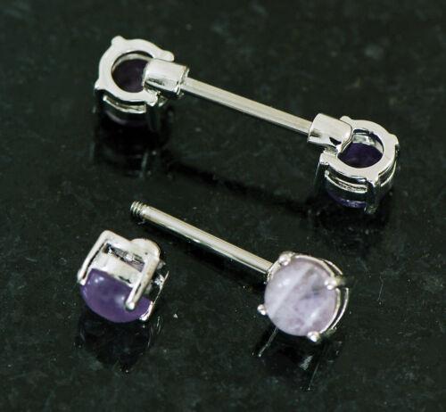 "Pair 14g 9//16/"" 316L Surgical Steel Semi 7 mm Natual Amethyst Stone Nipple Rings"