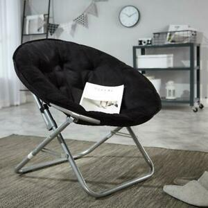 Large-Microsuede-Saucer-Chair-Black-Foldable-for-dorm-rooms-and-apartments