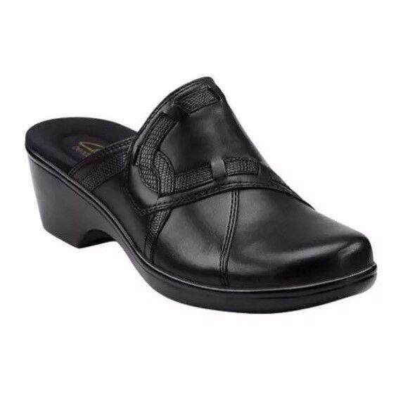 miglior servizio Clarks Donna  April April April Daisy nero Leather Slip On Clogs 1063 Sz 9 M  sconto prezzo basso