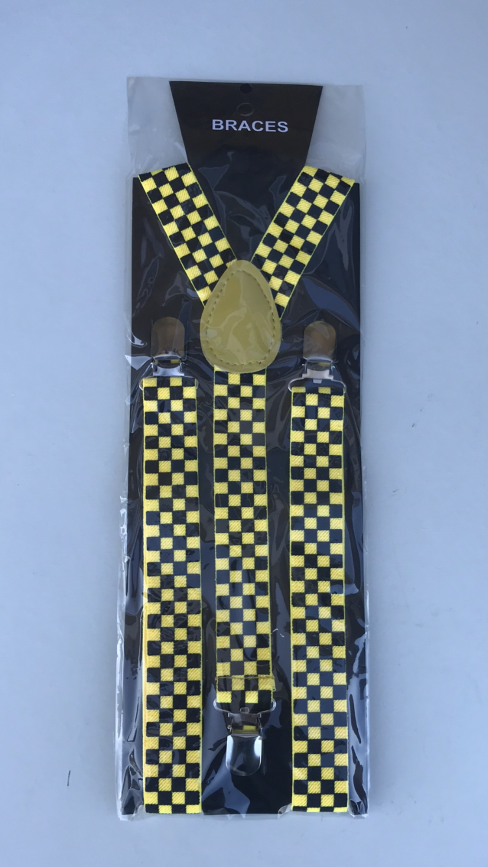 STYLISH FASHIONABLE MENS/LADIES YELLOW / BLACK CHECK BRACES SUSPENDERS 2.5cm