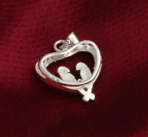"Silver Love Heart Birds Charm Animal CZ Pendant Necklace 18/"" Chain Gift Box I38"