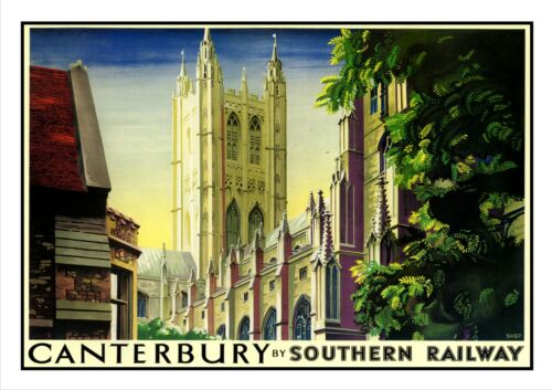 Canterbury 2 Poster Adventure Travel Holiday Beautiful View Old Advert Cathedral