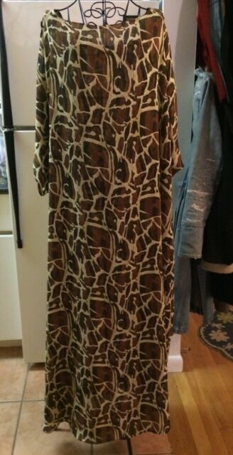 Noreen Phillips Large Cheetah Print Maxi Dress Swim Cover Up Sz L EUC