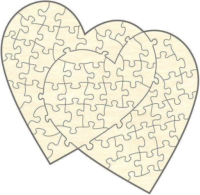 Offerte iniziali Legno-Puzzle doppio cuore, 60 parti, 59x57 cm, per dipingere autonomamente, rendere
