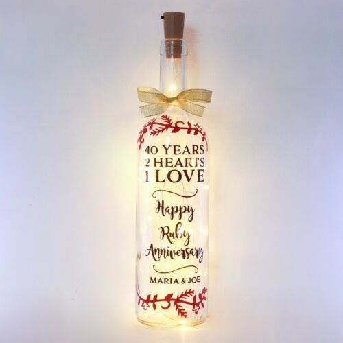 40th Ruby Wedding Anniversary Gift Bottle Light, Personalised, 40 Year, Parents