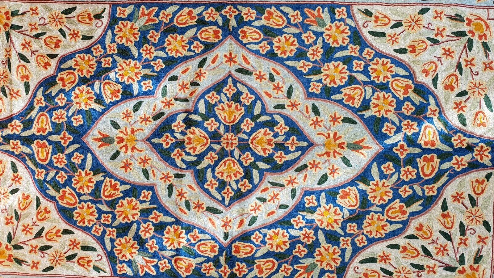Tappeto di Seta dal Kashmir FIORE ASTRATTO Blu Rosso Design 3' x 5'