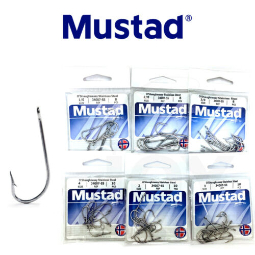 Mustad O/'Shaughnessy Hook Stainless Steel 34007-SS Fishing Hook Select Size