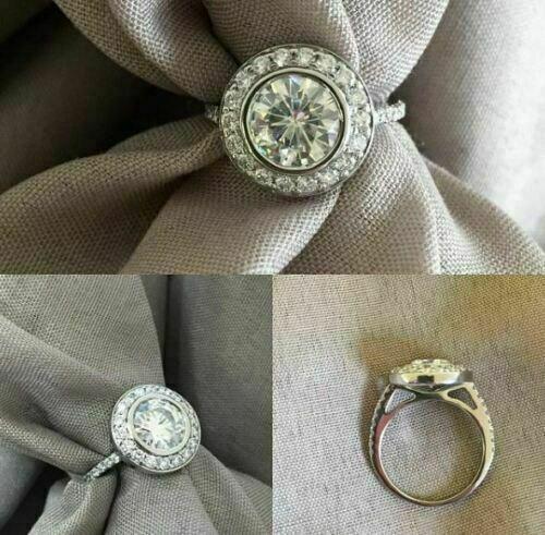 Engagement Wedding Ring Bezel Set 2.21 Ct Round Diamond 14k White Gold Certified