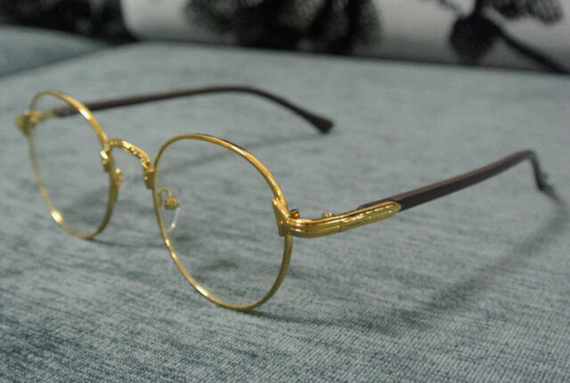 8e7e4073e6 60 s Vintage Gold Eyeglass Frames Man Women Oval Full-Rim Glasses Clear  Lenses