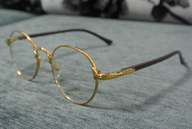 57cf919b7f 60 s Vintage Gold Eyeglass Frames Man Women Oval Full-Rim Glasses Clear  Lenses
