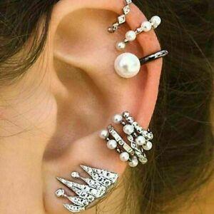 Boho-Jewelry-9Pcs-set-New-Pearl-Ear-Clip-Boho-Ear-Cuff-Stud-Crystal-Ear-Earrings