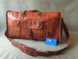 Handmade-Goat-Leather-20-034-Duffel-Bag-DM-Sport-Gym-Overnight-Free-Leather-Care