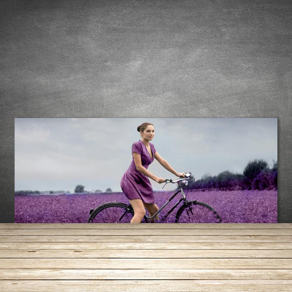 Crédence de cuisine en verre Panneau 125x50 Personnes Femme Vélo Prairie