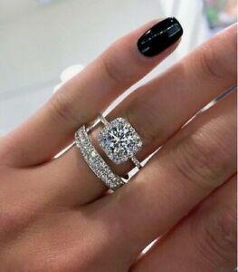 3-50-ct-Round-Cut-Diamond-Halo-Engagement-Wedding-Band-Ring-14k-White-Gold-Over