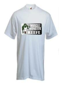Personalised-Printed-White-unis-T-Shirt-Muscle-Monster-Keefe-Size-M