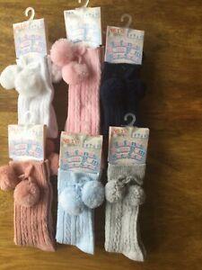 Pom pom knee high spanish baby socks 0-3 3-6 6-12 months BNWT pink white blue