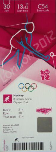 mint TICKET Olympia 30.7.2012 Men/'s Hockey Spanien Pakistan C54