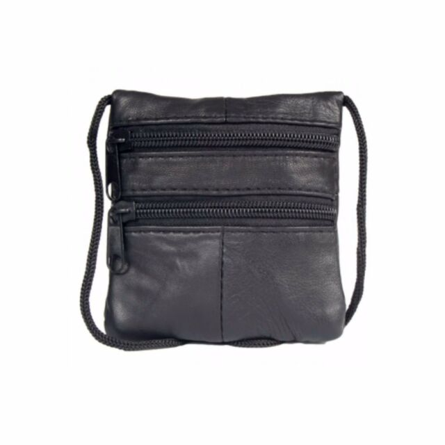 lowest price d8b6a 72aa7 GHS Soft Black Nappa Leather Neck Purse Pouch Passport Mobile Phone Various  Size Extra Small