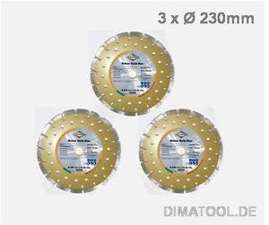 3x-230mm-Cedima-Beton-Gold-Star-Diamanttrennscheibe-Beton-Naturstein