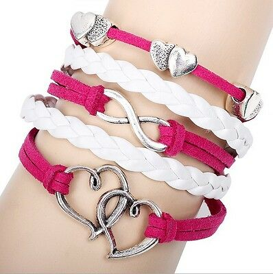 NEW Hot Infinity Love Anchor Leather Cute Charm Bracelet plated Silver DIY SL108