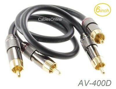 AV-006RP 6ft 3.5mm Stereo Male to Dual RCA Male Right-Angle Plug Cable