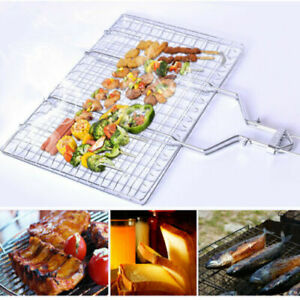 BBQ-Grill-Basket-Foldable-Fish-Vegetable-Stainless-Steel-Camping-Barbecue-Tool