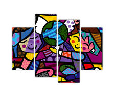 CHILDREN OF THE WORLD BY ROMERO BRITTO ON FRAMED CANVAS WALL ART PRINTS 4 PIECE