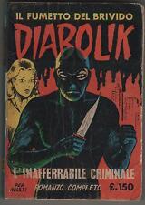 DIABOLIK prima serie N.2 ingoglia L' INAFFERRABILE CRIMINALE originale 1963 1a I