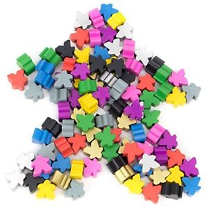 16mm-Wooden-Meeple-Game-Pawns-10-Colors-100-pack