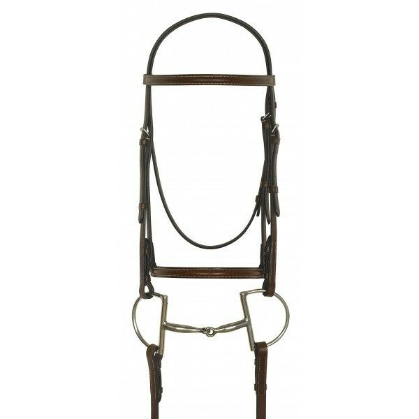 Camelot gold by ERS Plain  Raised Padded Flash Bridle - Full Size - Havanna  up to 50% off