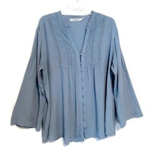 Solitaire-Peasant-Blouse-Plus-Size-1X-Cottage-Pintucked-Button-Front-Crochet