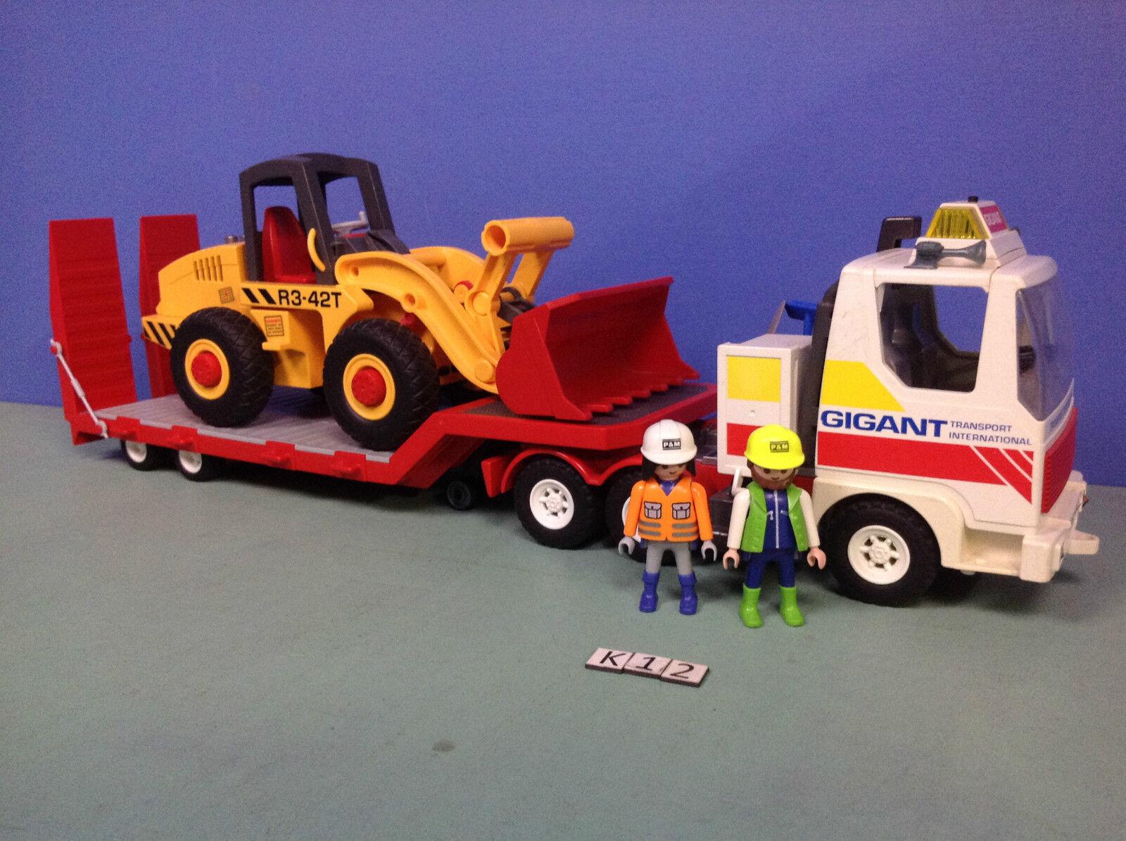 (K12)  playmobil Camion transport Gigant ref 3935 + Buldozer  Spedizione gratuita per tutti gli ordini