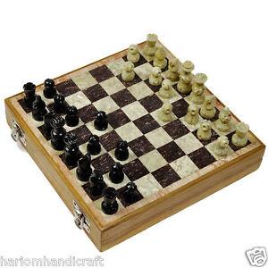 "6"" Marble Play Travel Chess Set Box Ebony Gorara Stone Pieces Art Gifts H658C"