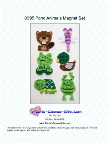 Dragonfly Frog-Plastic Canvas Pattern or Kit Pond Animals Magnet Set Beaver