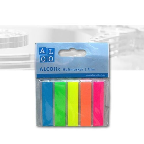 Alcofix transparente Haftmarker 12 x 50 mm 5 Farben 5 x 25 Stück