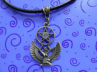 For A Queen-egyptian Victorian Bp Winged Isis Pendant +18 Blk Leather Necklace