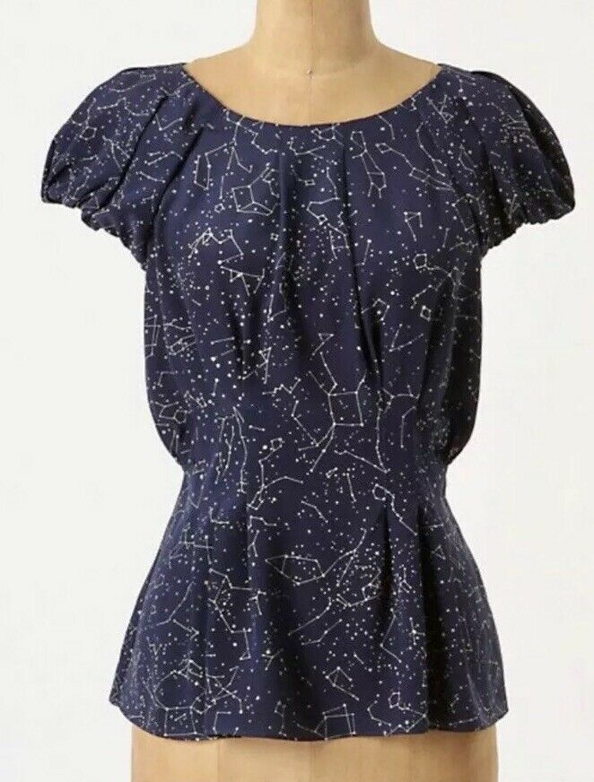 10. Anthropologie Rare Maeve Navy Trace The Stars Silk Woherren Größe 4