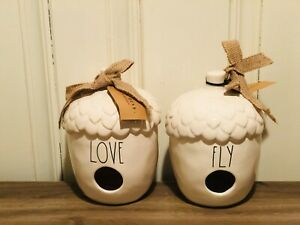 Rae-Dunn-By-Magenta-Acorn-FLY-LOVE-Ceramic-Ivory-Birdhouse-Set-of-2