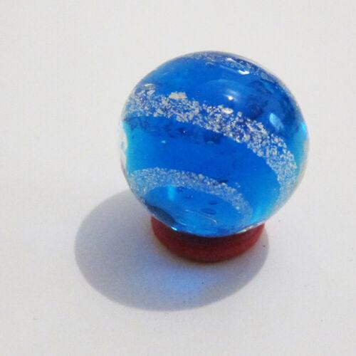 "25mm Blu Core White Flake Spiral JETSTREAM BLUE MARBLE Handmade Art Glass 1/"""
