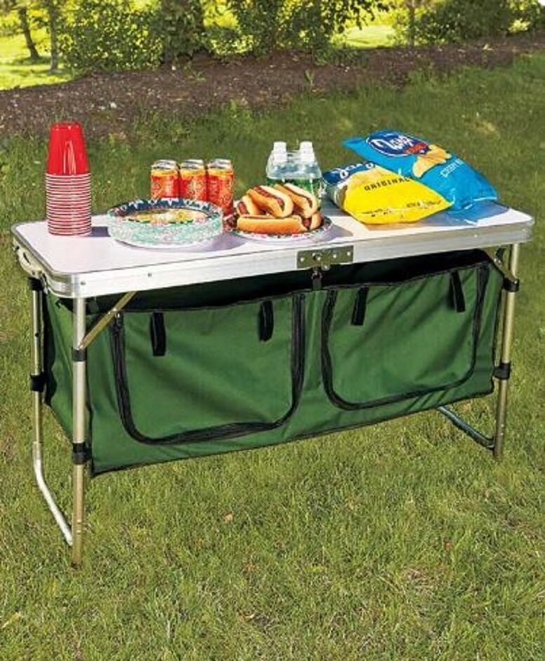 Fold Away Portable Camp Table Folding Camp Kitchen Table w/ Storage Aluminum