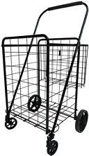 Heavy Duty Jumbo Folding Shopping Cart With Double Basket And 360 Swivel Wheel