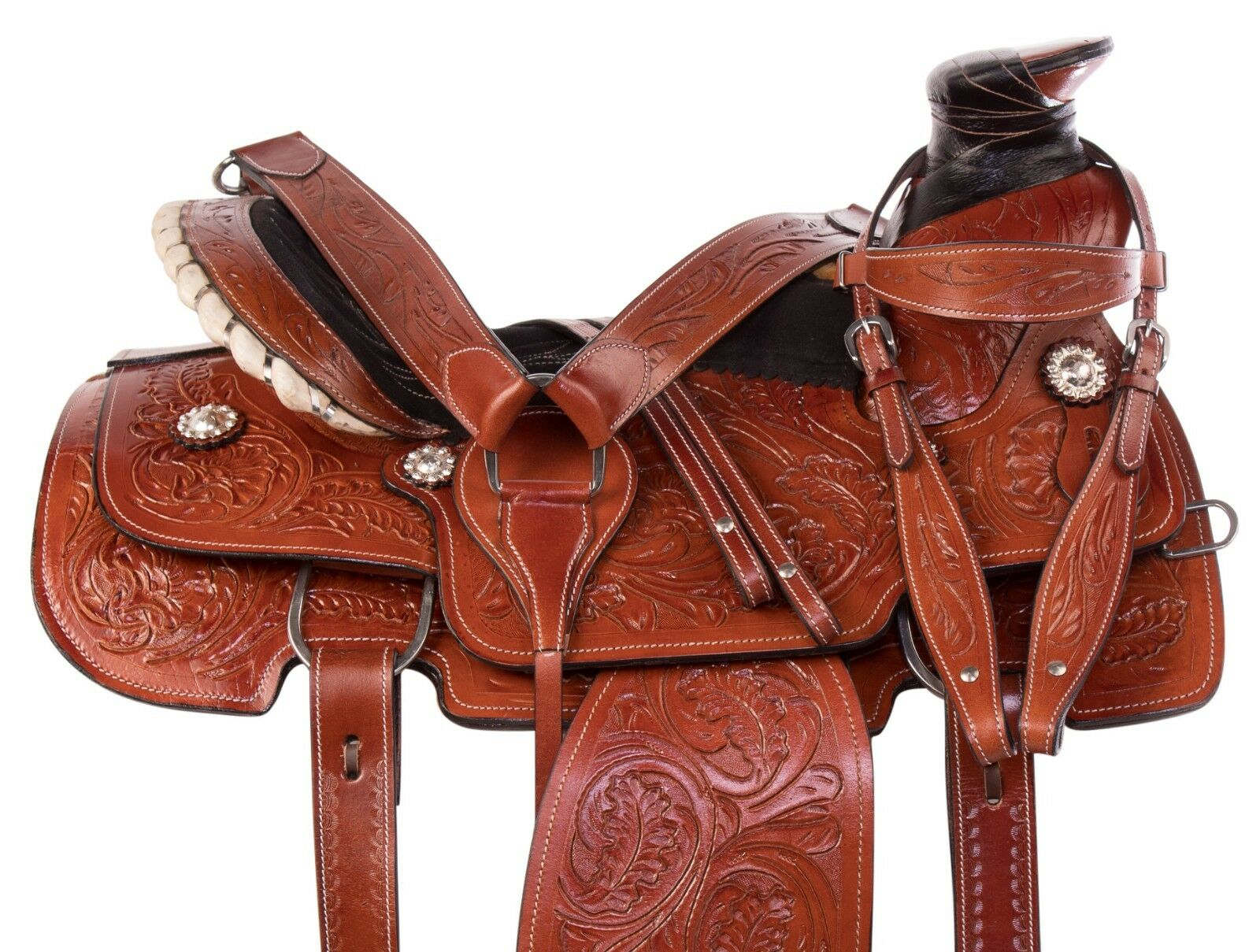 15 16 PREMIUM WESTERN RANCH ROPING RODEO PLEASURE TRAIL HORSE LEATHER SADDLE