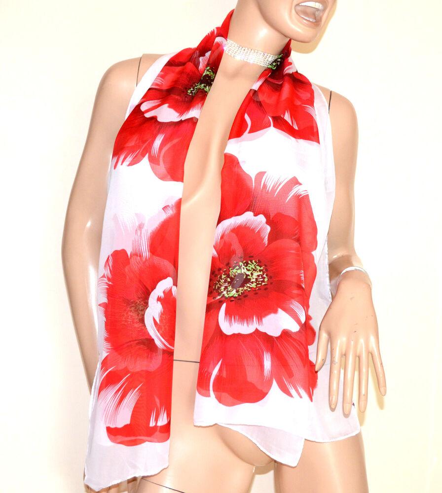 à Condition De Foulard étole 40% Soie Blanc Rouge Femme Châle Echarpe Voilé Fleur Fantaisie G34 TrèS Poli
