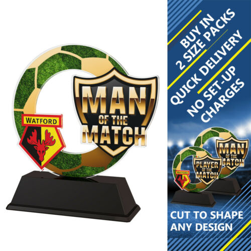15x FOOTBALL MAN OF THE MATCH LOGO PRINTED 100mm ACRYLIC TROPHIES FREE ENGRAVING