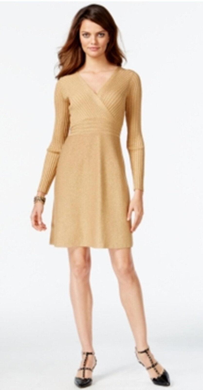 Inc International Concepts New gold Metallic Surplice Fit & Flare Sweater Dress