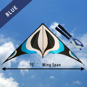 NEW-70-034-Sport-Stunt-Kite-Dual-Line-6ft-Wing-Span-Delta-Outdoor-Flying-BLUE