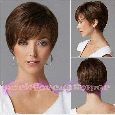 Hot Sexy Fashion Women's ladies short Brown Natural Hair full wigs +free Wig cap
