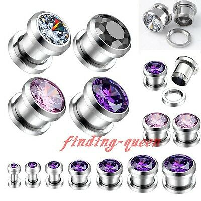 Pair 3-12MM Round CZ GEM Stainless Steel Screwed Ear Plugs Tunnels Earlets Gauge