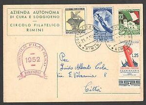 Cartolina 1952 Mostra Filatelica Annullo Speciale Rimini Bella ...